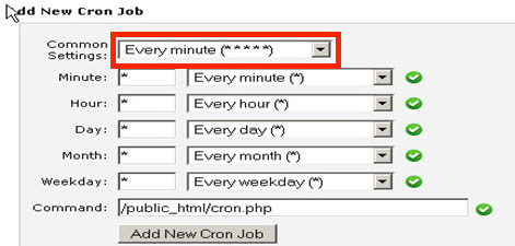 "Add New Cron Job window highlighting the ""Common Settings"" for recurring commands"