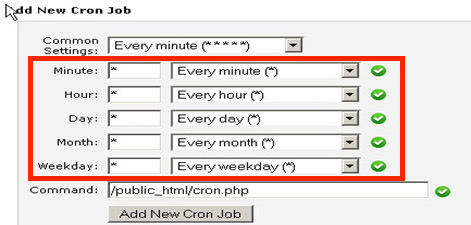 Add New Cron Job window highlighting the individual time settings for recurring commands