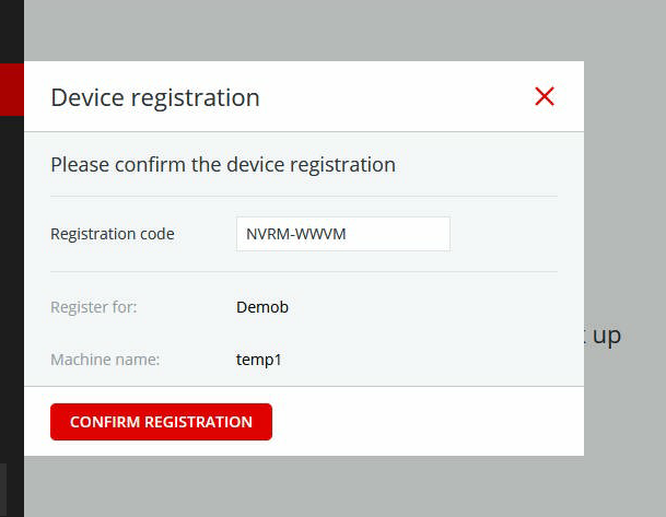 "Device registration screen showing the ""Confirm Registration"" button"