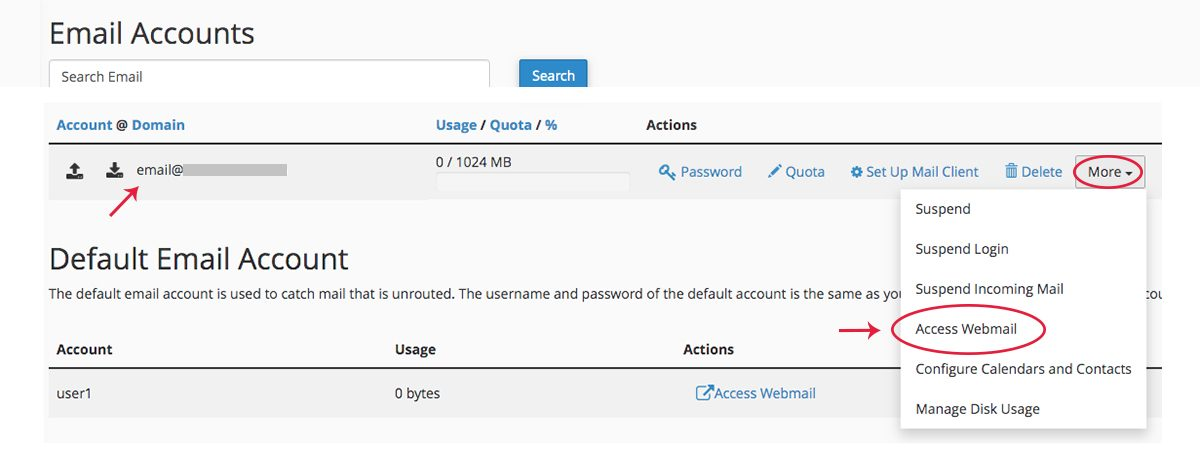 Screenshot of cPanel Email Accounts Page showing the Access Webmail option