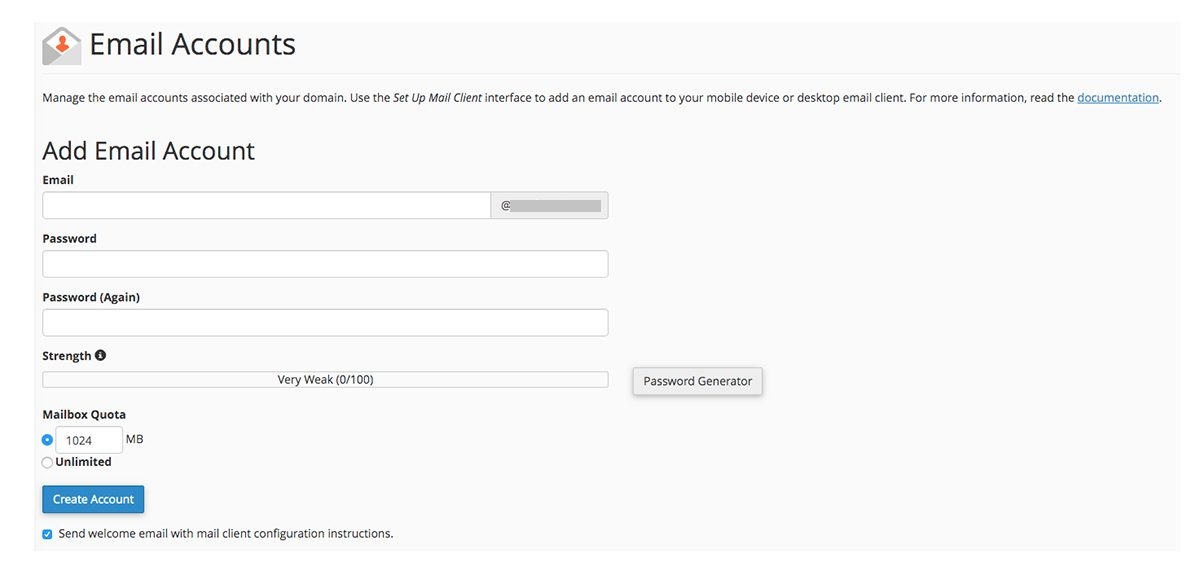 Screenshot of cPanel Email Accounts page focusing on the Add Email Account section