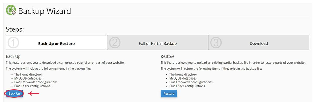 Screenshot of the cPanel Backup Wizard page highlighting the Back Up button