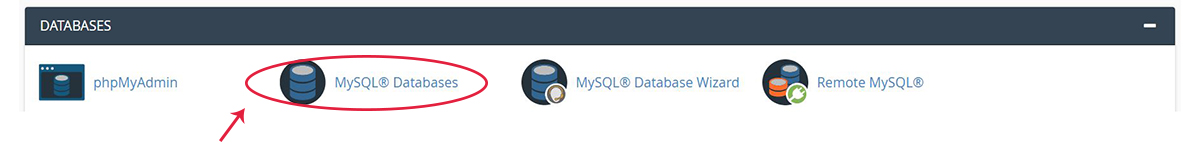 Screenshot of the cPanel Databases section with the MySQL Database Wizard icon highlighted