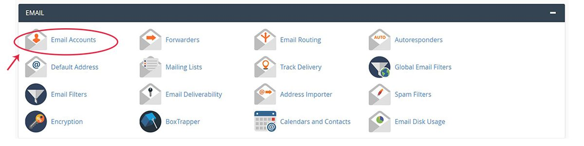 Screenshot of the cPane Email section with the Email Accounts icon highlighted