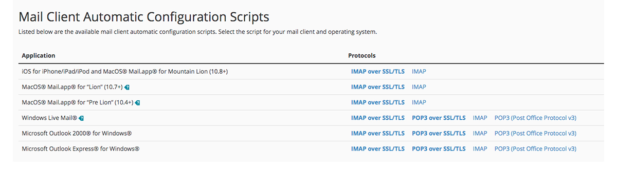 Screenshot of the cPanel Mail Client Automatic Configuration Scripts page