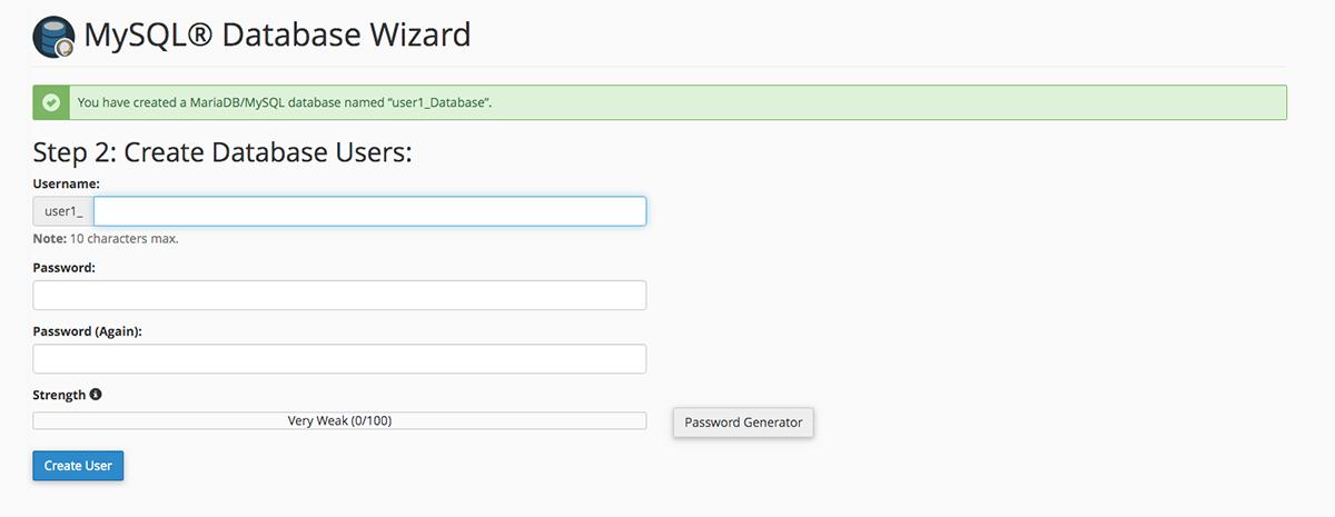 Screenshot of the cPanel MySQL Database Wizard Create Database Users screen