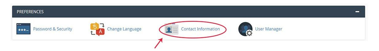 Screenshot of the cPanel Preferences section with the Contact Information icon highlighted
