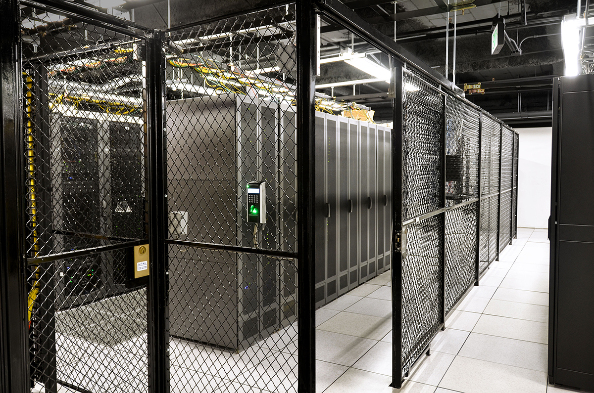 Rows of server cabinets within a server cage