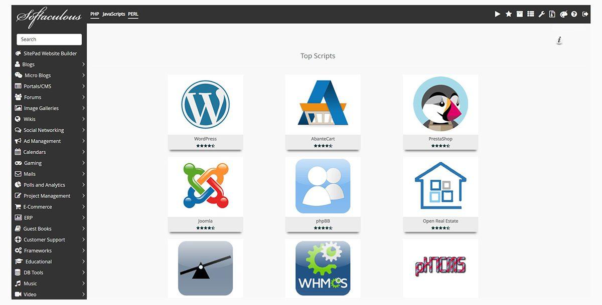 Screenshot of the Softaculous dashboard