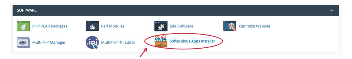 Screenshot of the cPanel Software section with the Softaculous Apps Installer icon highlighted