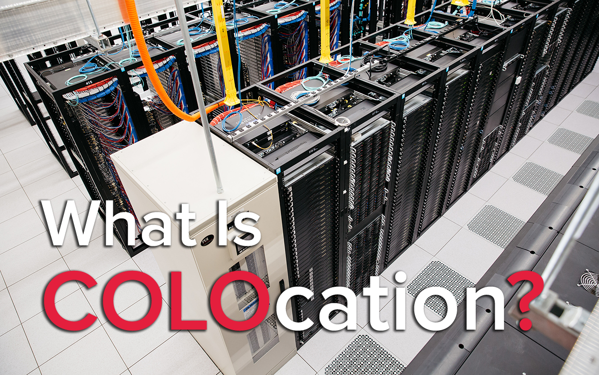 What is Colocation? Top down image of a server room with multiple server cabinets