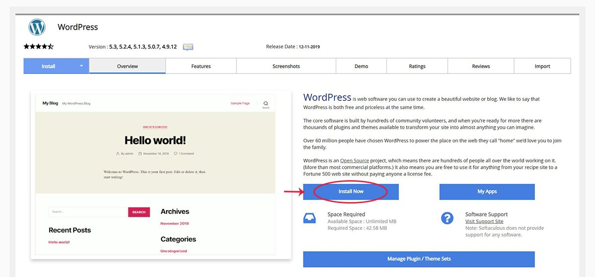 Screenshot of the WordPress Overview page within Softaculous