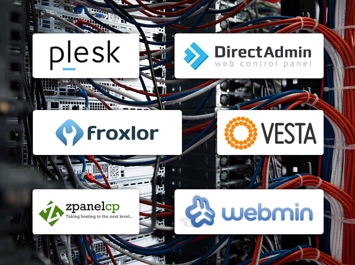 Cables with logos for various cPanel alternatives: Plesk, DirectAdmin, Froxlor, VestaCP, zPanel, and Webmin