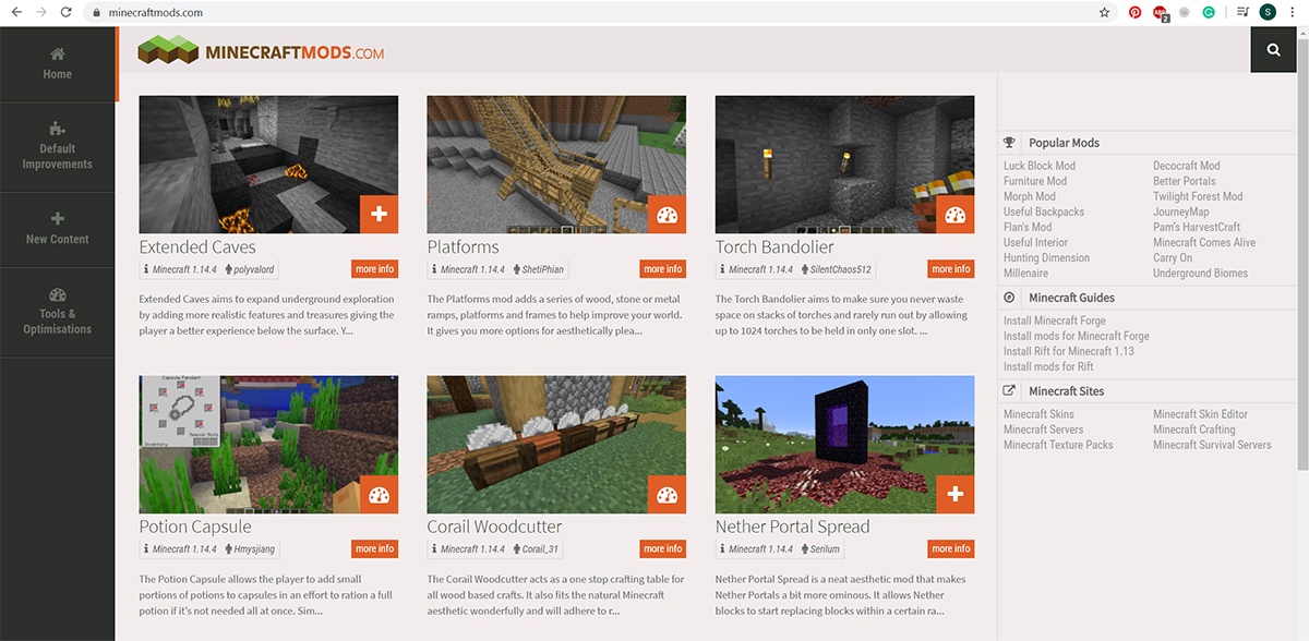 Image of the minecraftmods.com home screen featuring several popular Minecraft mods