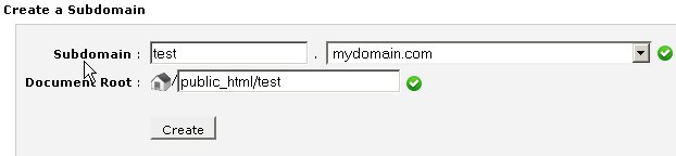 """Create a Subdomain"" form showing form fields for domain name and document root"