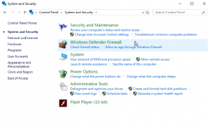 Screenshot showing the System and Security tab and highlighting the Windows Defender Firewall
