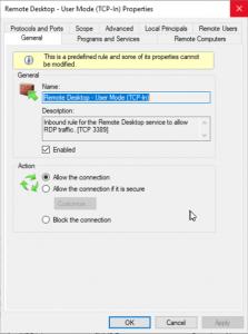 Remote Desktop user mode properties screen