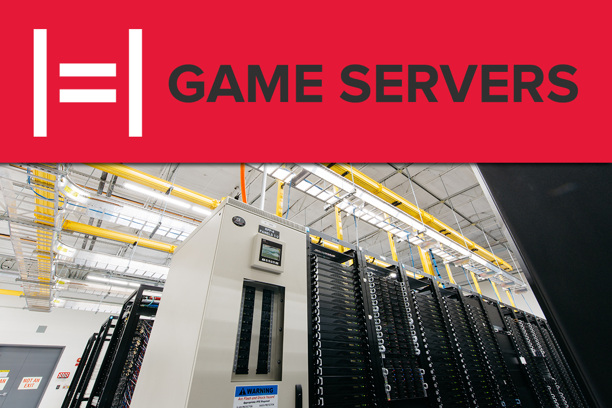 "Title image with the text ""Game Servers"" floating over a room full of servers"