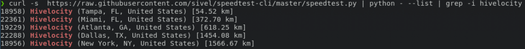 speedtest-cli server list