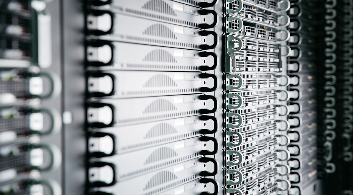 Vertical stack of racked servers