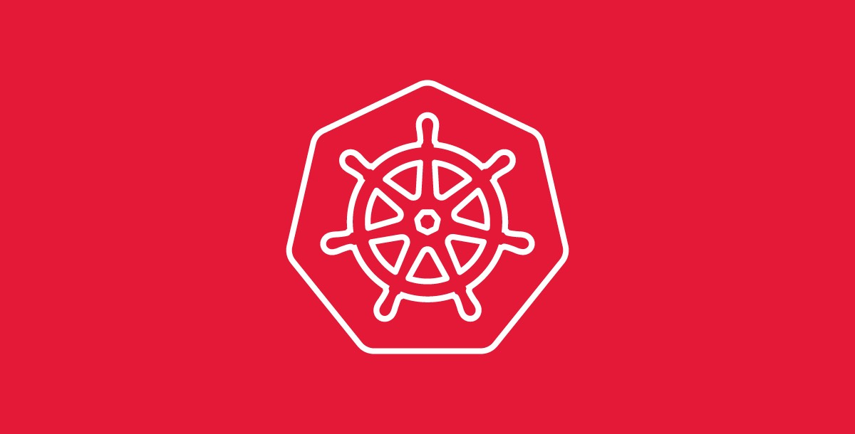 An image of the Kubernetes' logo, a seven-spoked steering wheel